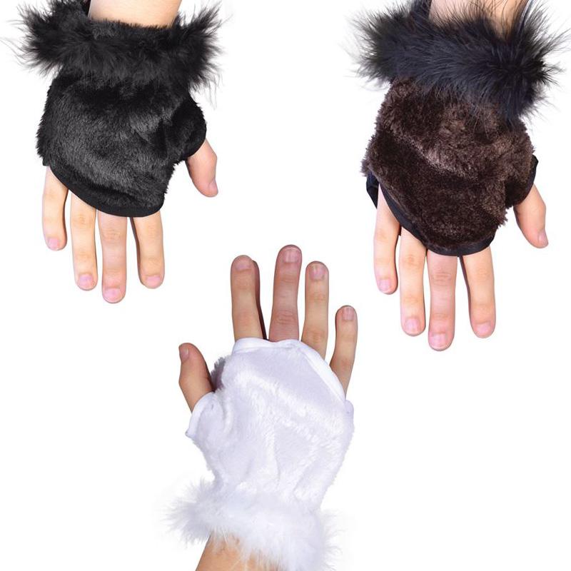 Handskar med Päls (Vita)