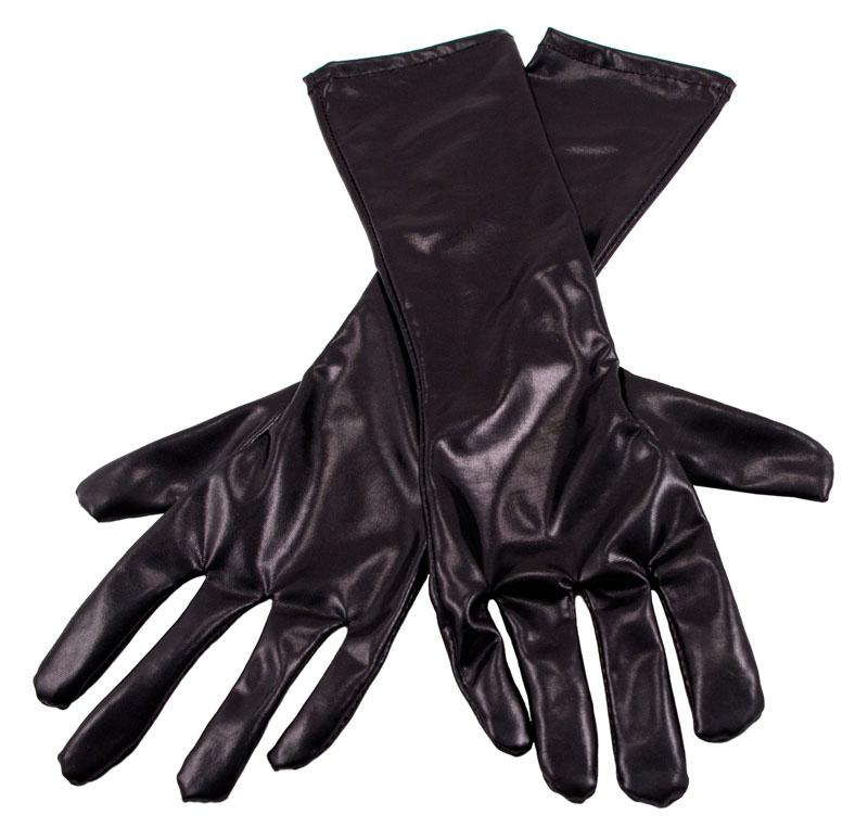 Långa Handskar Metallic Svart