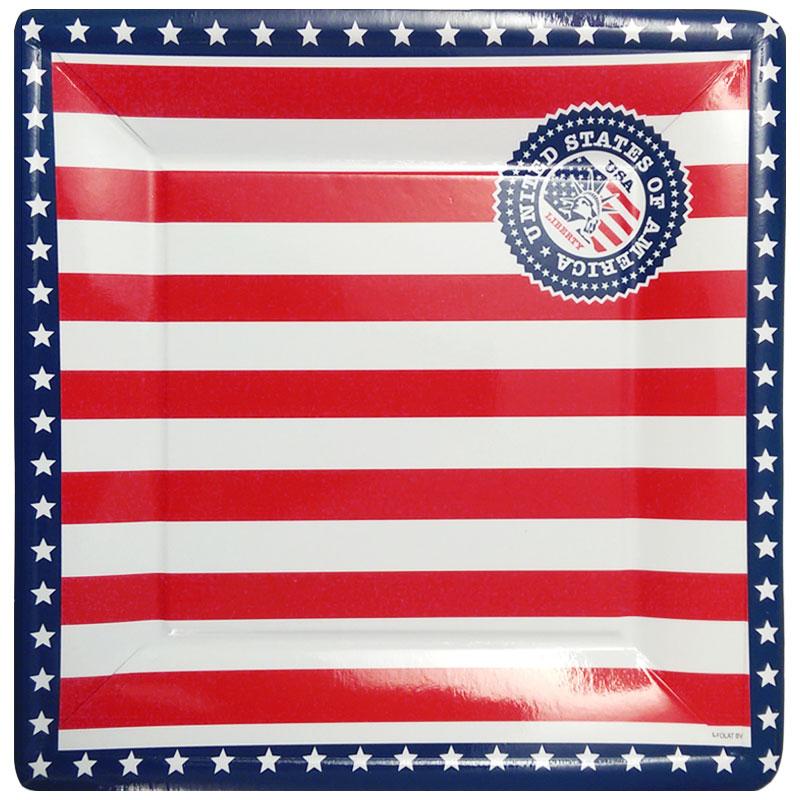 USA Papptallrikar Fyrkantiga