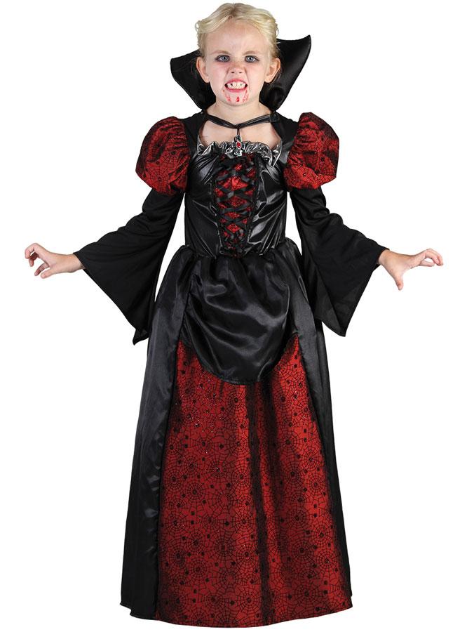 Luxuös Vampyrklänning Maskeraddräkt Barn (Small (5-6 år))