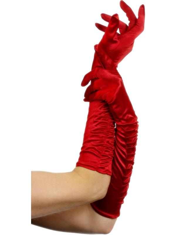 Röda Långa Handskar i Sammet