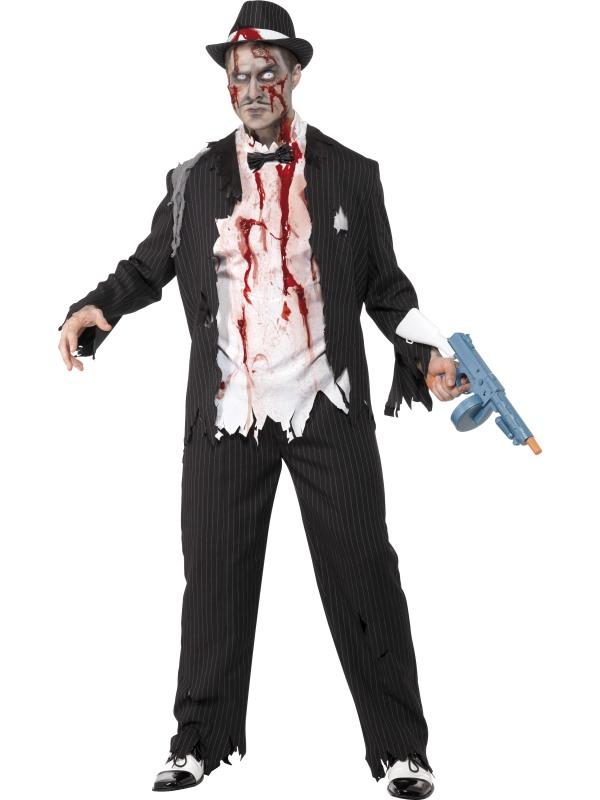 Zombie Gangster Maskeraddräkt (Medium)
