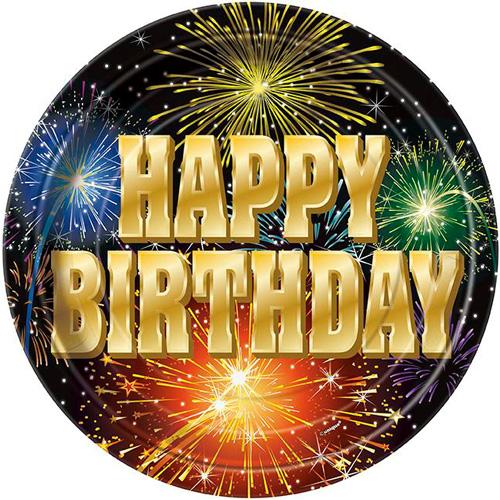 Fireworks Happy Birthday Papptallrikar