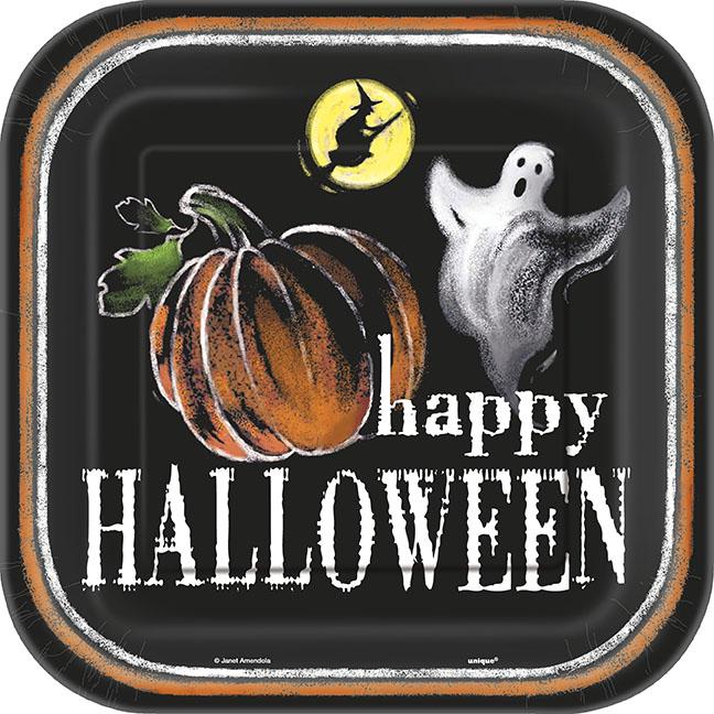 Ghostly Halloween Papptallrikar Fyrkantiga
