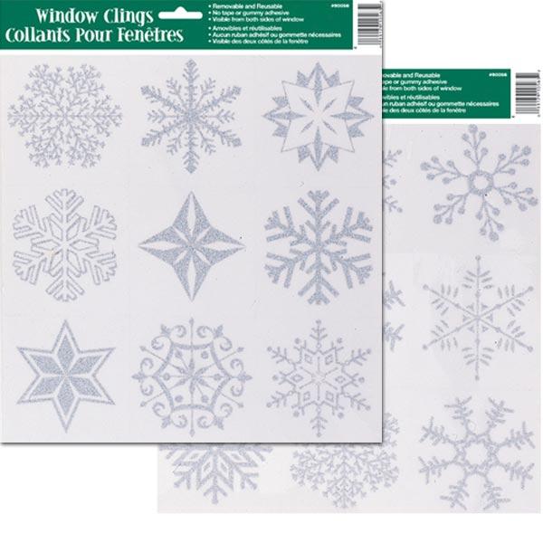 Jul Fönsterdekorationer Silver Snöflingor