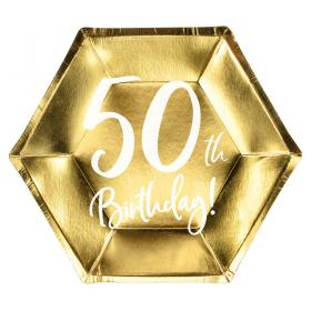 50th Birthday Assietter Guld
