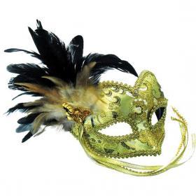 Guldig Venetiansk Mask med Fjädrar