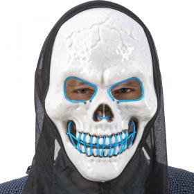Döskalle LED-Mask med Huva Blå