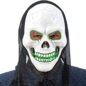 Döskalle LED-Mask med Huva Grön