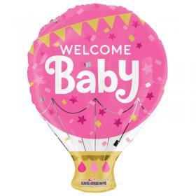 Welcome Baby Rosa Folieballong