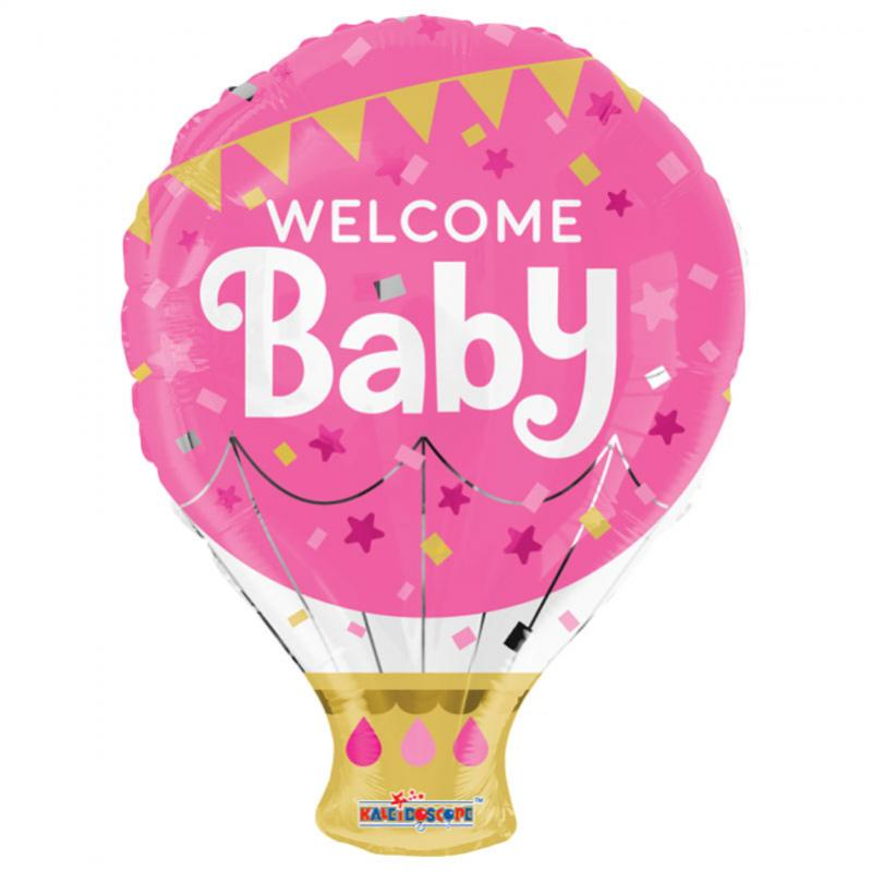 Welcome Baby Rosa Folieballong