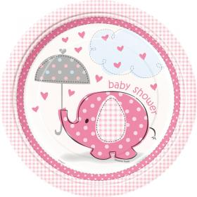 Baby Shower Girl Papptallrikar Umbrellaphant