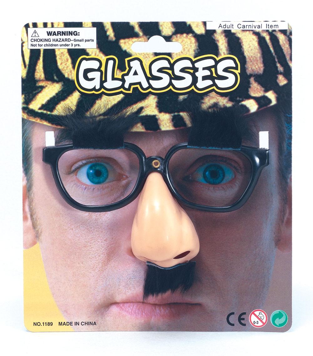 Glasögon med Näsa och Mustasch