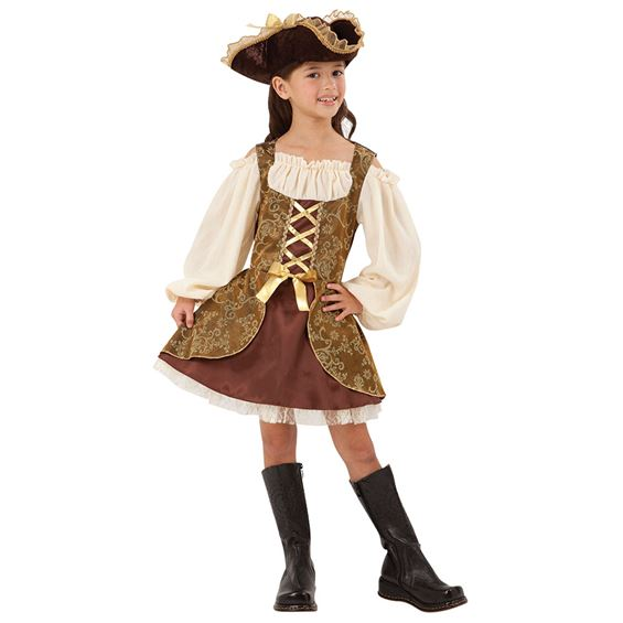 Gyllene Piratklänning Barn Maskeraddräkt (Small)