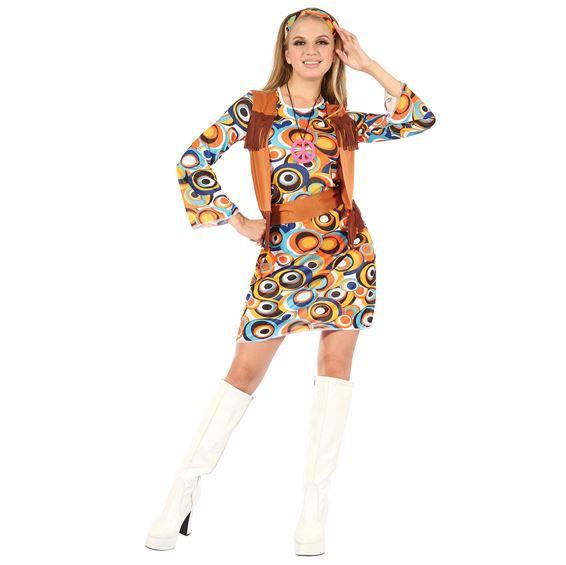 Hippieklänning med Fransad Väst Maskeraddräkt