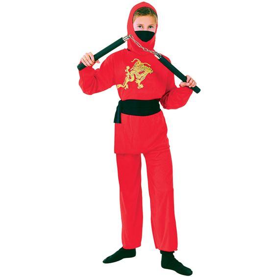 Röd Ninja Barn Maskeraddräkt (Small)