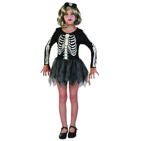 Skelettklänning Barn Maskeraddräkt (Small)