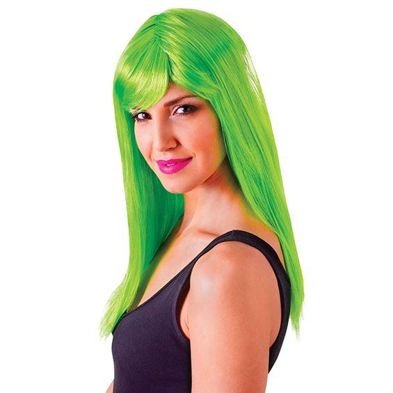 Superstar Lång Neongrön Peruk