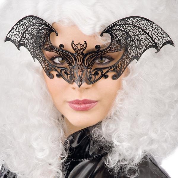 Svart Ögonmask i Metall med Fladdermus