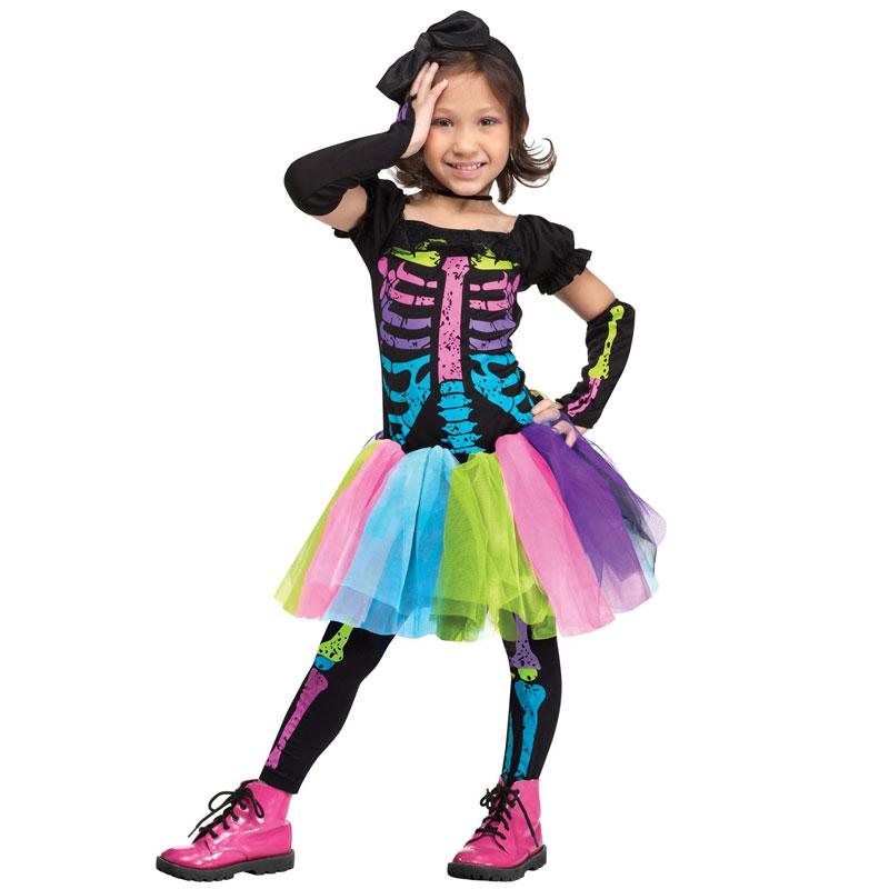 Skelettklänning Neon Barn Maskeraddräkt