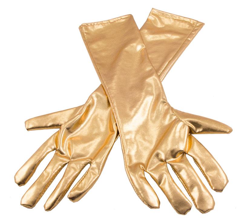 Långa Handskar Metallic Guld