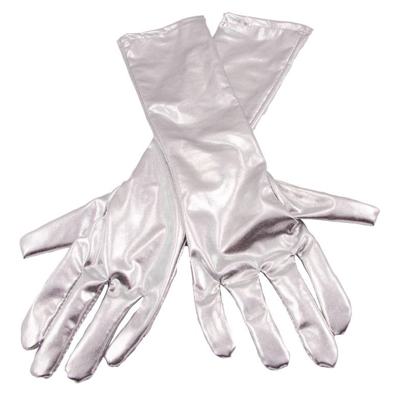 Långa Handskar Metallic Silver