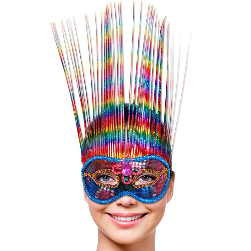 Venetiansk Mask Regnbågsfärgad Deluxe
