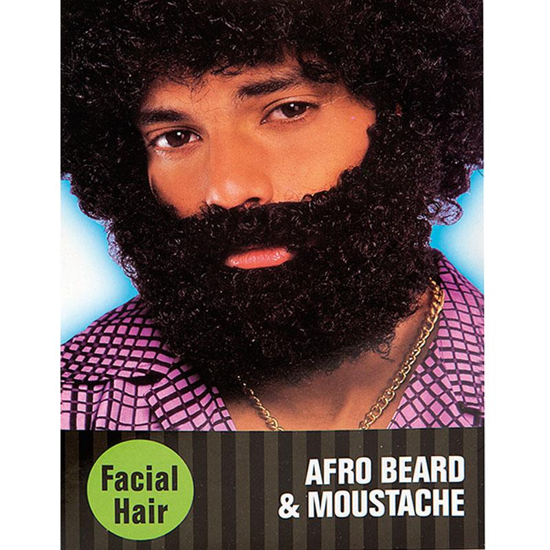 Afro Skägg med Mustasch