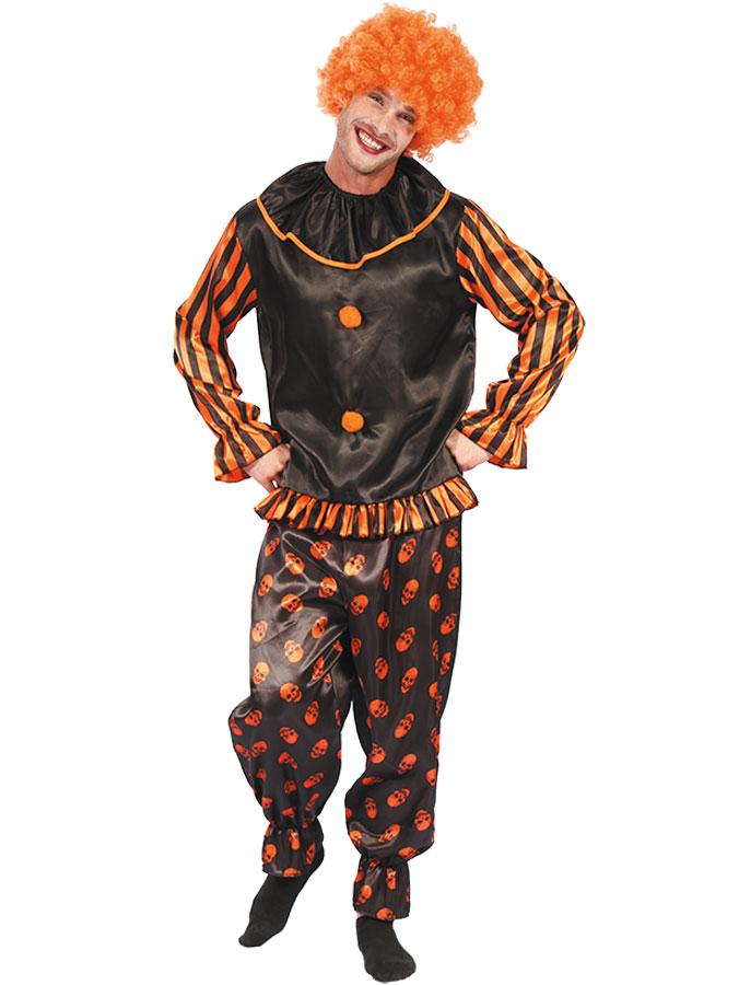 Lustig Clowndräkt Svart/Orange