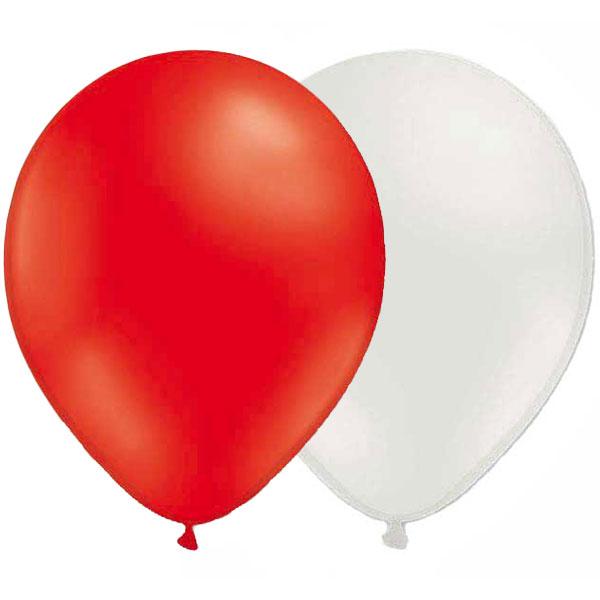 Ballonger Vita/Röda (10-pack)