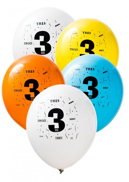 Latex Sifferballonger Tre