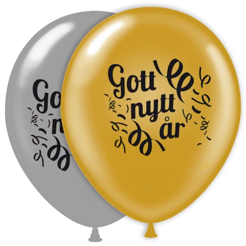 Nyårsballonger Gott Nytt År (10-pack)