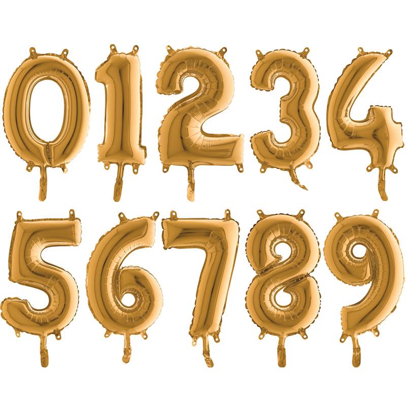 Sifferballong Guld Mini (Siffra 0)