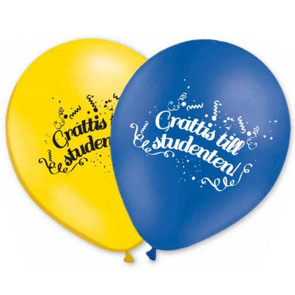 Studentballonger Grattis Till Studenten (10-pack)