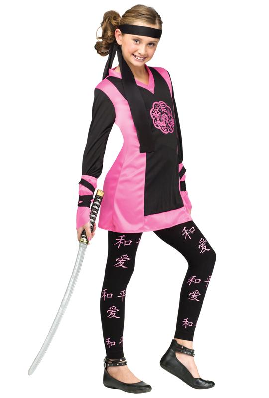 Utklädningsdräkter - Rosa Ninja Barn Maskeraddräkt