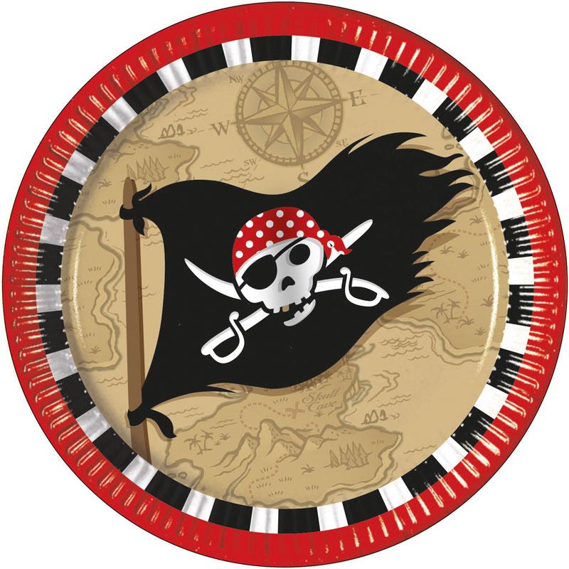 Pirat Skattkarta Papptallrikar