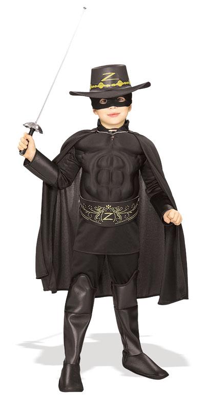 Muskulös Zorro Deluxe Barn Maskeraddräkt (Small)
