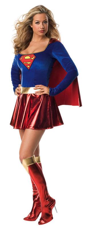 Söt Supergirl Maskeraddräkt (X-Small (Str. 32-34))