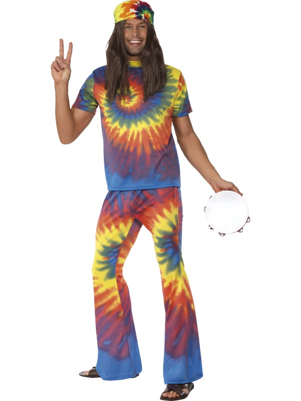 60-tals Färgglad Hippie Maskeraddräkt (Medium)