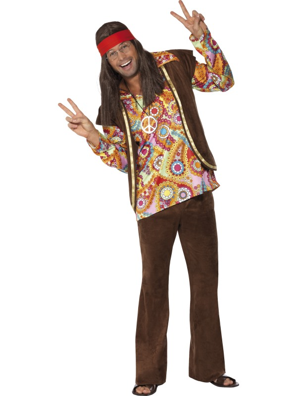 60-tals Psykadelisk Hippie Maskeraddräkt (Medium)