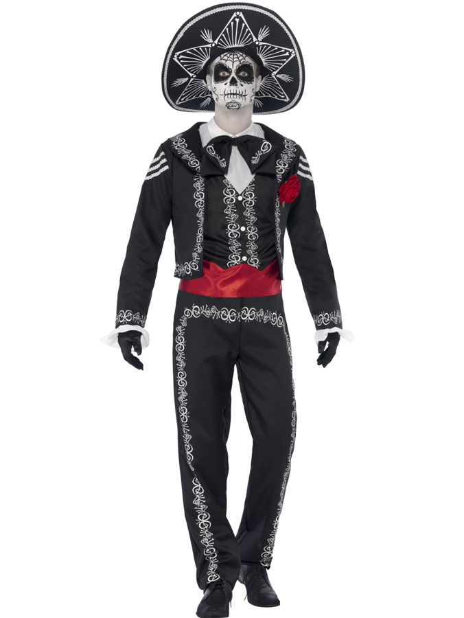 Day of The Dead Kostym Senor Bones Maskeraddräkt (Medium)