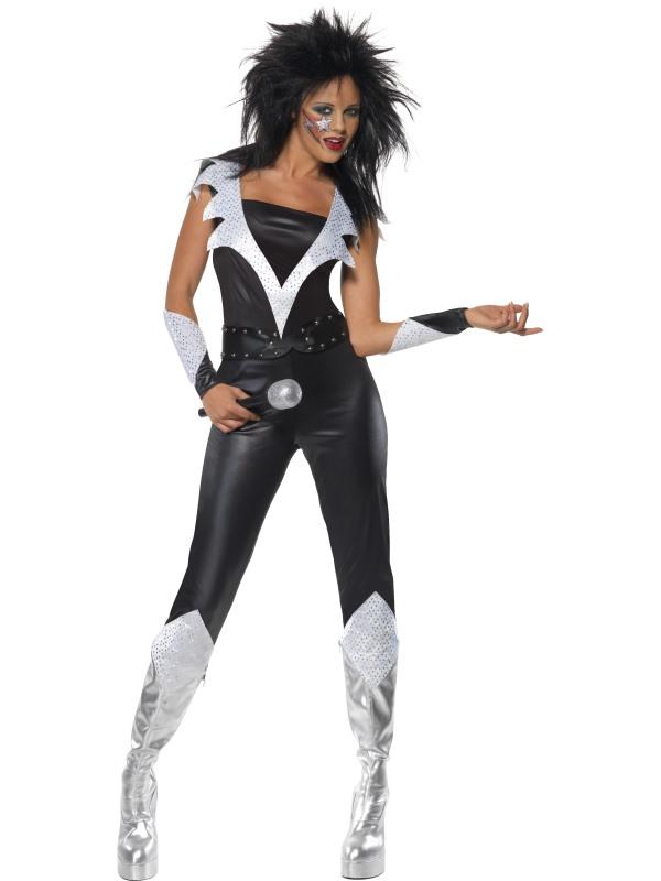 Kvinnlig Glamrock Jumpsuit Maskeraddräkt (Small)
