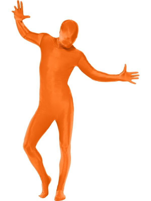 Second Skin Orange med Väska Maskeraddräkt (Medium)