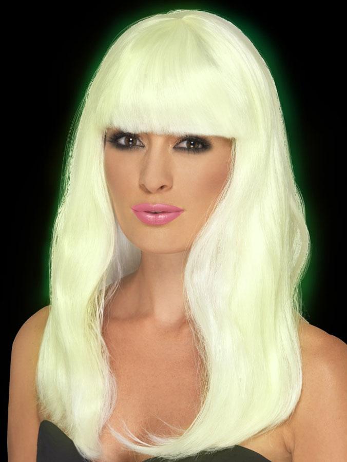 Självlysande Lång Blond Peruk