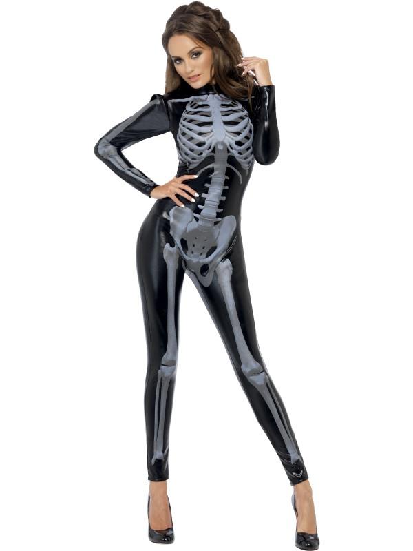 Svart Skelett Catsuit Maskeraddräkt (Small)