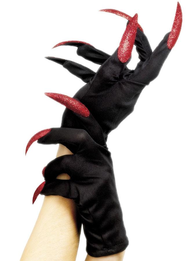 Svarta Handskar med Röda Naglar