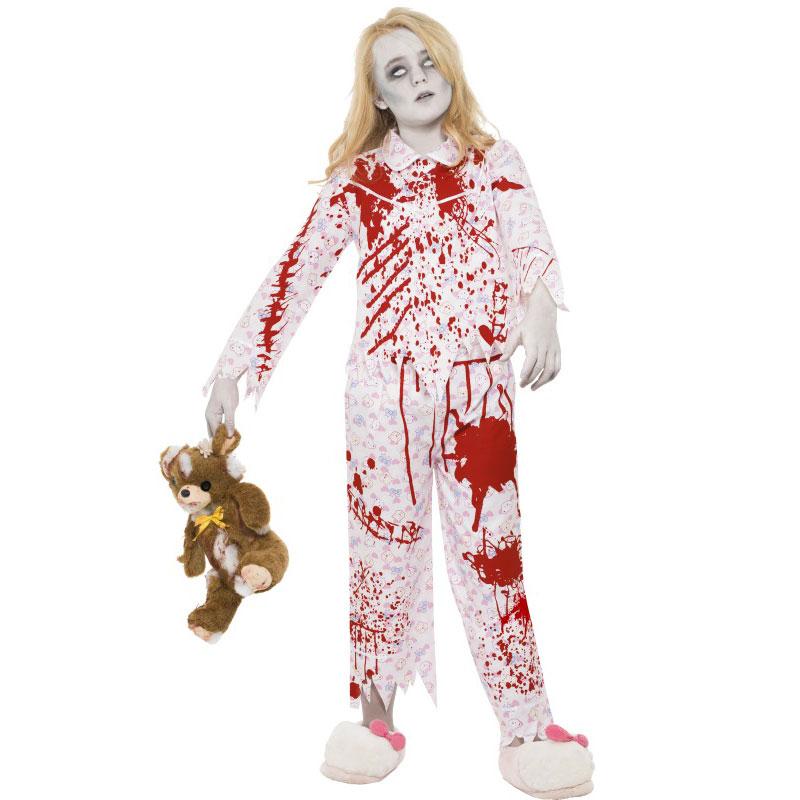 Zombieflicka i Pyjamas Maskeraddräkt (Medium (7-9 år))