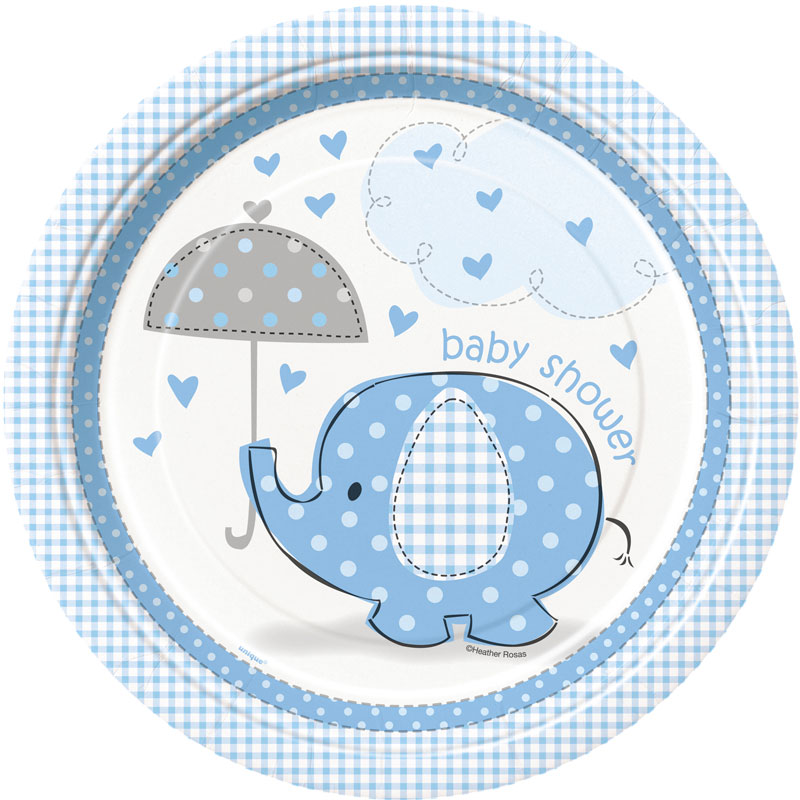 Baby Shower Boy Papptallrikar Umbrellaphant