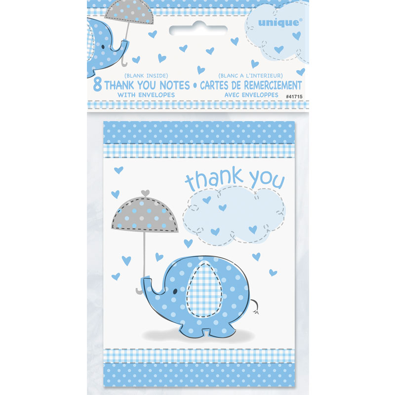Baby Shower Boy Tackkort Umbrellaphant