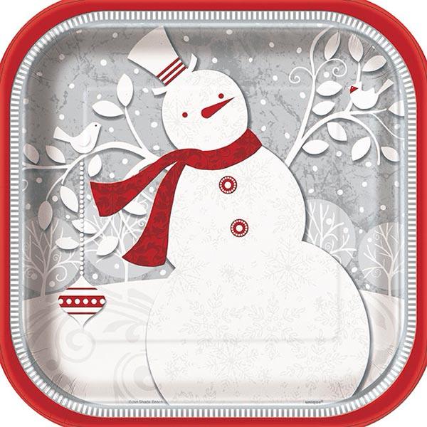 Frosted Holiday Fyrkantiga Papptallrikar